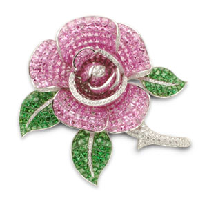 Pink Sapphire Tsavorite and Diamond Brooch